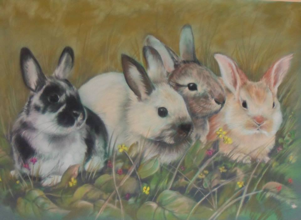 Art work by Elise Hendry: Rabbits. Animals, landscapes, people portraits in a variety of styles.